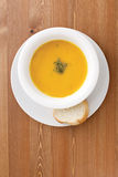Pumpkin Soup. On a desk Royalty Free Stock Photography