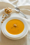 Pumpkin soup diner Royalty Free Stock Image