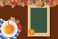 Pumpkin soup and empty chalkboard Stock Image
