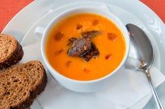 Pumpkin soup with foie gras Stock Photo