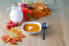 Pumpkin soup with fresh pumpkin royalty free stock photo