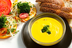 PUmpkin Soup. With fresh vegetable Stock Photo