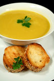 Pumpkin Soup With Garlic Bread Stock Photography