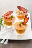 Pumpkin soup in glasses Royalty Free Stock Photography