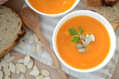 Pumpkin soup. stock photography
