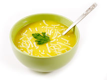 Pumpkin soup with grated cheese in a bowl Royalty Free Stock Photography