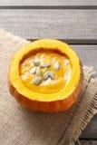 Pumpkin soup. Healthy autumn dish Stock Photos