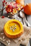 Pumpkin soup. Healthy autumn dish Royalty Free Stock Photography