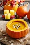 Pumpkin soup. Healthy autumn dish Royalty Free Stock Photos