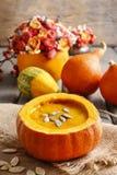 Pumpkin soup. Healthy autumn dish Royalty Free Stock Image