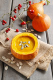Pumpkin soup. Healthy autumn dish Royalty Free Stock Photo