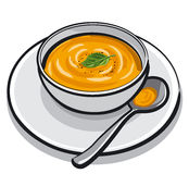 Pumpkin soup. Illustration of the pumpkin soup Royalty Free Stock Photo