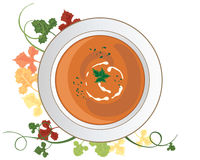 Pumpkin soup. An illustration of a bowl of seasonal pumpkin soup with herb and cream garnish and foliage decoration on a white background Stock Image