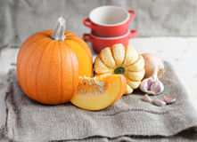 Pumpkin soup ingredients (pumpkins, garlic, onion) on a sack Stock Photography