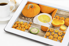 Pumpkin soup, jucie and seeds Royalty Free Stock Image