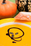Pumpkin soup with kernels Royalty Free Stock Photo