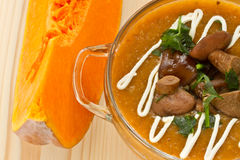 Pumpkin soup with mushrooms Royalty Free Stock Photos