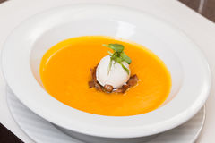 Pumpkin soup. With mushrooms and cream cheese Royalty Free Stock Photography