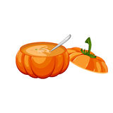 Pumpkin soup . Pumpkin soup in an open pumpkin and more pumpkins in the background. Traditional appetizer tasty creamy pumpkin soup healthy vegetarian cream Royalty Free Stock Photography