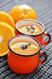 Pumpkin soup with orange Stock Photo