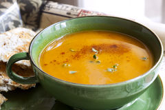 Pumpkin Soup with Paprika and Thyme Royalty Free Stock Photo