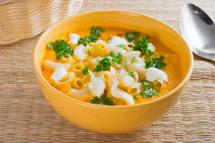 Pumpkin soup with pasta Stock Photo