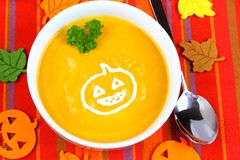 Pumpkin soup with pasta in cream, royalty free stock photos
