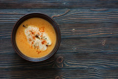 Pumpkin soup with pears Royalty Free Stock Images
