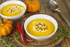 Pumpkin soup with pepper Royalty Free Stock Photography