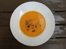Pumpkin soup in a plate Stock Photography