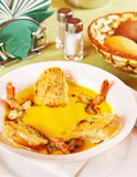 Pumpkin soup with prawns Royalty Free Stock Images