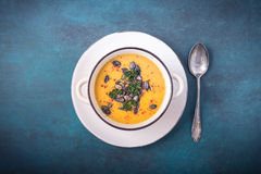 Pumpkin soup with pumpkin seeds and chili peppers stock images