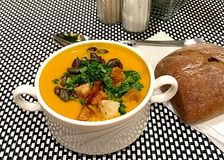 Pumpkin soup. Is your favorite food on the days of Halloween Royalty Free Stock Images