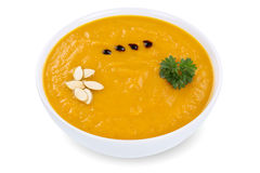 Pumpkin soup with pumpkins in bowl  Stock Photography