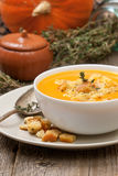 Pumpkin soup - puree with croutons Stock Images