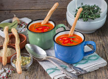 Pumpkin soup puree with hot pepper and herbs Royalty Free Stock Photography