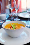 Pumpkin soup on restaurant table Stock Images