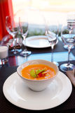 Pumpkin soup on restaurant table Royalty Free Stock Image