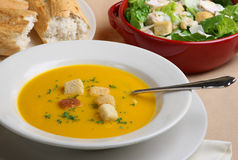 Pumpkin Soup, Salad & Bread Royalty Free Stock Photos