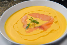 Pumpkin soup with a salmon Royalty Free Stock Images