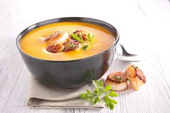 Pumpkin soup and scallop Royalty Free Stock Photo