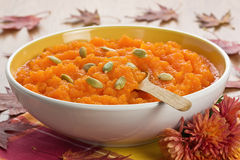Pumpkin soup with seeds Stock Images
