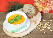 Pumpkin soup and seeds with bread Stock Image