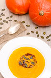 Pumpkin soup with seeds and oil Stock Image