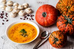 Pumpkin soup with seeds and parsley. Vegan food royalty free stock images