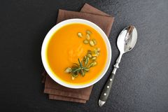 Pumpkin soup with seeds Stock Photography