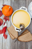 Pumpkin soup set Royalty Free Stock Images