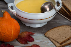 Pumpkin soup set Royalty Free Stock Photography