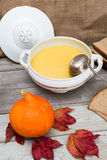 Pumpkin soup set Royalty Free Stock Image