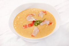 Pumpkin soup with shrimps Royalty Free Stock Images